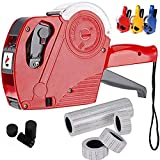 Cafolo~ MX5500 8 Digits EOS Price Tag Gun Labeller +5000 White w/ Red lines sticker labels + Ink in...
