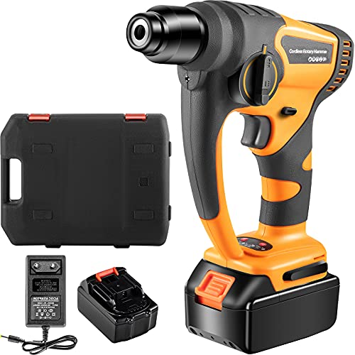 VEVOR SDS-Plus Rotary Hammer Drill, 900 RPM & 450 BPM Variable Speed Electric Hammer, 2 Functions Include Drilling & Hammer Drilling, Cordless Drill w/LED Light Ideal for Concrete, Steel, and Wood