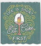 JoneAJ Vintage Design Das Leben ist kurz Eat Cake First Lettering mit niedlichen Cupcake in Service Quote Duschvorhang Tuch Stoff Badezimmer Dekor Set mit Haken 71 Zoll lang Multicolor