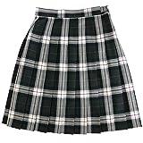 オリーブデオリーブ スクールスカート チェック柄 プリーツスカート 48cm丈 1j40018 (60-48, 07グレー×白)