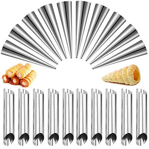 20 Piezas Molde De Cuerno Crema,Tubos Con Forma De Cannoli Tubos Cannoli De Acero Inoxidable Moldes De Croissant Para Hornear Pan Molde Del Cuerno Para Panqueques Molde De Croissant DIY