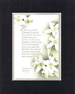 Amor es sufrido, es benigno; el amor no tiene envidia. 1 CORINTIOS 13:4-8 . . . 8 x 10 Inches Spanish Biblical/Religious Verses in Spanish set in Double Beveled Matting (Black on White) - A Timeless and Priceless Poetry Keepsake Collection