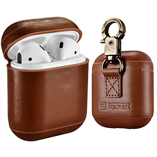 AirPods Leather Case with Strap, ICARER Genuine Leather Portable Protective Shockproof Cover for...