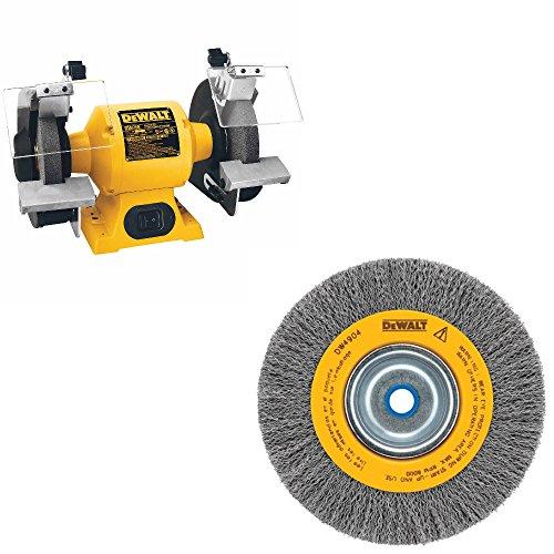 """DeWalt DW758 HD 8"""" Bench Grinder & DeWalt DW4906 8"""" Crimped Bench Wire Wheel"""
