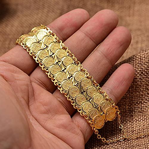 Pulsera Monedas de Color Oro brazaletes&brazaletes para Mujeres Hombres Dinero Moneda Pulsera árabe musulmán árabe Oriente Medio joyería Regalos africanos TWOlayer