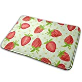Yaxinduobao Tile Strawberry Polyester Flannel Alfombra de baño Non Slip Extra Cozy and Absorbent Shaggy Rug Dry Fast Perfect for Bathroom Indoor Tub Shower Bedroom Living Room Carpet 15.7x23.5 Inch