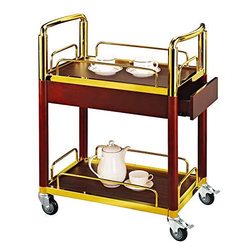 WangQ Carro de Bebidas, Restaurante Bar extraíble Copa de Acero Inoxidable Carrito hogar Multifuncional Carrito Comedor con cajones, Oro/Plata Carro de Cocina (Color : B)