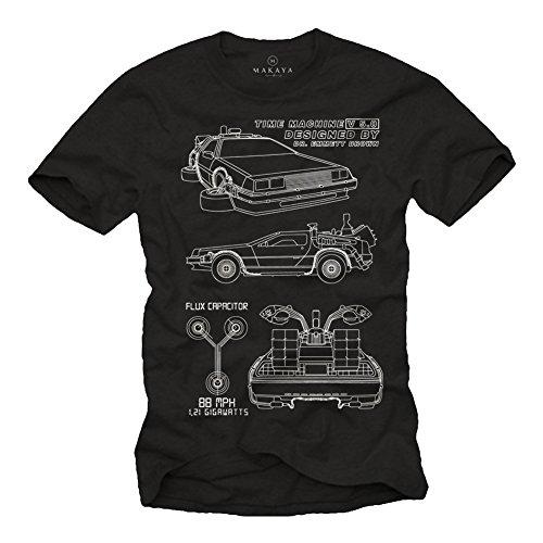 T-Shirt Uomo Deloran - Maglietta Manica Corta - Back to Future Nera M