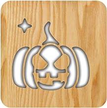 VORCOOL Halloween Pompoen Gezicht Nachtlampje Houten Uithollen Nachtkastlamp Desktop Licht Woondecoratie voor Woonkamer Sl...