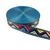 Gurtband/Borte 3,8 cm breit - Boho Style Zacken bunt -