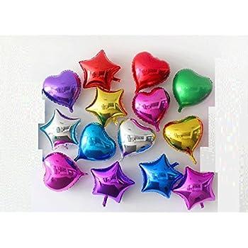 華やか バルーン 風船 2種 (ハート 7色 + 星型 7 色 + 空気入れ セット ) パーティー 小物 ハート 星 結婚式 二次会 披露宴 装飾 イベント 【KJ456】