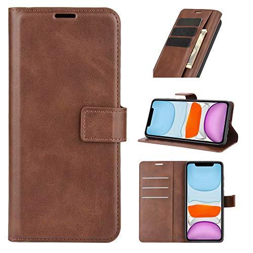 LORMI - Funda tipo cartera para Samsung Galaxy A32 5G (cierre magnético), diseño a prueba de golpes, color marrón