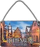 """schilderkreis24 – Blechschild """"Rothenburg – ob der Tauber"""" Stadt Altstadt Deko Schild Urlaub Reisen Metallschild Retro Türschild Vintage Geburtstag Weihnachten 18x12 cm"""