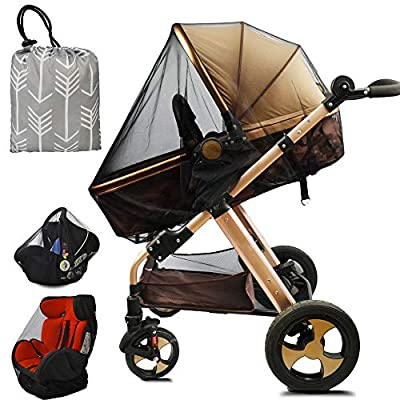 Stroller Netting Mosquito for Baby, Sewn in Pouch Organizer, for Cribs, Toddler Mosquito Net for Stroller with Storage Bag, Infant car seat Insect mesh net, Easy Installation,Black
