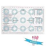 Silikon Backmatte Größe 60x40 cm für Macaron/Keks/Brötchen/Pizza/Nudel wiederverwendbar Backmatte Trays & Rolling mit Messung Teigematte Ausrollmatte Gratis Silikon Spatel Set(blau)...