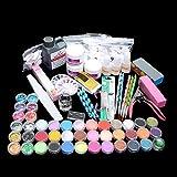 WAQIA Oh Acrylic powder Shiny Glitter Nail Art Decoration Acrylic Nail Kit Nail Art Tools Kit Combo Set Professional DIY Gel Nail Art Kit Glue Nail Tools Supplies