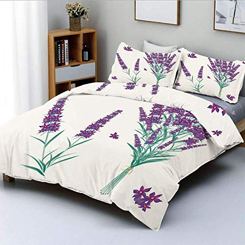 Qoqon Duvet Cover Set,Aromatic Blossoms Bouquet from Provence France Fragrant Herbal Flora DecorativeDecorative 3 Piece Bedding Set with 2 Pillow Sham,Purple Magenta Teal,Best Gift F