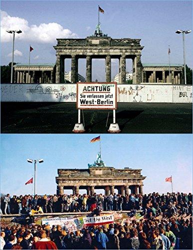 Berlin Lentikular Postkarte mit Wechselbild/Wackelkarte: MAUERFALL AM BRANDENBURGER TOR 1979/1989
