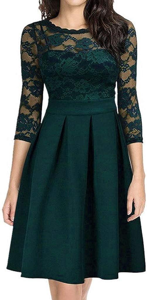 Limsea Plus Size Dresses for Women 1950s Cocktail Dress Party Vintage Retro Bridesmaid Evening Lace Dress