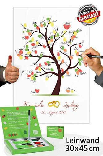 galleryy.net Fingerabdruck Leinwand 45x30 mit Namen & Datum - INKL Zubehör-Set GRATIS (Stempelkissen+Stift+Anleitung+Hochzeitsbuch+...) - Hochzeitsbaum mit Ringen - Fingerabdruck Baum Leinwand