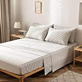 JELLYMONI 100% Cotton 4-Piece Grey Striped Queen Sheet Set, Ultra Soft Breathable Deep Pocket Printed Grey with White Stripes Pattern Sheets with Pillowcases
