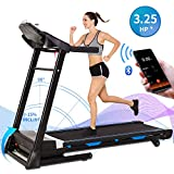 ANCHEER Folding Treadmill, Electric Automatic Incline, Heavy-Duty Steel Frame Treadmills with Sports APP and Audio Speakers, Indoor Walking Running Exercise Machine for Home Gym Office Workout