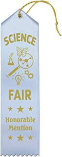 Science Fair Honorable Mention Award Ribbons – 25 Count Value Bundle – Includes Event Card and String – Made in America