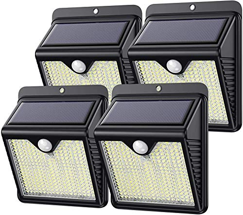 Kilponen Luz Solar Exterior, 【Versión Innovadora 4-Paquete 250 LED 1500 Lumens】 Foco Solar Exterior con Sensor de Movimiento Impermeable Lámpara Solar Exterior para Jardín [ Clase Energética A+++ ]