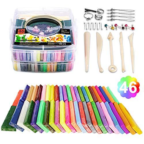 iFergoo Knete Starter Set- 46 Farben 1.5kg/52oz Polymer Clay 5 Modelliermasse Formwerkzeuge und Schmuckzubehor Set,Ofen Backen Polymer Ton fur fantasievolles und kreatives Spielen fur Kinder.