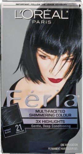 L'Oreal Paris Feria Permanent Haircolour Gel Bright Black 21 Cooler