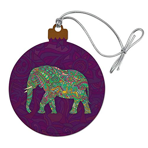 GRAPHICS & MORE Mosaic Elephant Wood Christmas Tree Holiday Ornament
