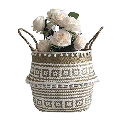 Fine Flower Pot Folding Basket, Handmade Storage Basket Seagrass Wicker Flower Pot Folding Basket Dirty Woven Baskets Storage Crochet Knitting Decoration (C)