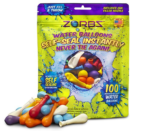 Zorbz Seal-Sealing Water Balloons with Filler Nozzle (100 Count)
