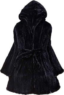 N\P Abrigo de invierno de piel de visón natural para mujer de manga larga de punto