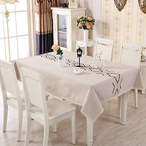 Rechthoekig tafelkleed van katoen en linnen, Stiksels Stofdicht Wasbaar Kant Keukentafelhoes voor eettafel, voor keuken Eettafel Tafelbescherming,b,130 * 180cm