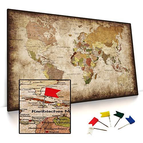 CanvasArts Weltkarte - Pinnwand auf Keilrahmen - Vintage, Leinwand Grunge Style, deutsch, Foamboard Rückwand statt Kork Rückseite (100 x 60 cm, Pinnwand)