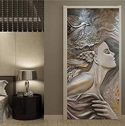 MNJKH Door stickers door decals, European Style Door Sticker 3D Stereo Releif Figure Wallpaper Living Room Bedroom Door Poster Self-Adhesive Decal 3D Sticker