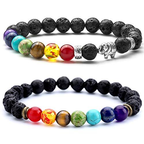 Doitory Men Women 8mm Lava Rock 7 Chakra Aromatherapy Essential Oil Diffuser Bracelet Elastic Natural Stone Yoga Beads Bracelet Bangle-21001 (2 Pcs Set 5-21001)