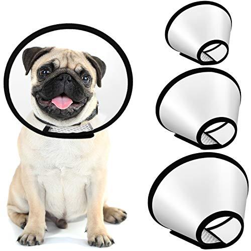 3 Piezas Collares Conos Protectores de Mascotas Ajustable Cono de Gato Cono Protector de Heridas Anti-Mordida Anti-Lamido Collar E de Plástico de Seguridad Curativa para Perros y Gatos
