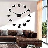 RRBOI Cazador Animales Salvajes Courser Ciervo Diseñador Reloj de Pared Gigante Caza Hobby Criatura Oso Jabalí Perfil Habitación Arte de la Pared Decoración Reloj 37inch (Negro)