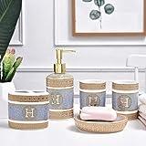 LWSJP Accesorios de baño de cerámica Conjunto dispensador de jabón Titular del Cepillo de Dientes del gargarismo de la Copa baño de Boda con la Bandeja (Color : Oro, Size : 5 Pieces Set A)