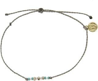 Pura Vida Silver/Gold Delicate Seed Bead Bracelet - Plated Brand Charm, Adjustable Band - 100% Waterproof