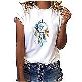 Camiseta de verano para mujer, cuello redondo, elegante, con plumas, manga corta, color blanco, informal, básica, para adolescentes, niñas, mujeres, camisa, túnica, deporte, fitness H M