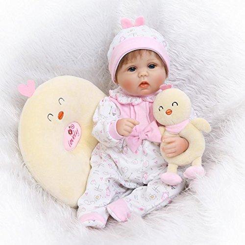 Nicery Reborn Baby Doll Réincarné bébé Poupée Doux Simulation Silicone Vinyle 18 Pouces 45cm Bouche Qui Semble Vivant Garçon Fille Jouet Vif réaliste Âge 3+ Boy Girl RD55C178