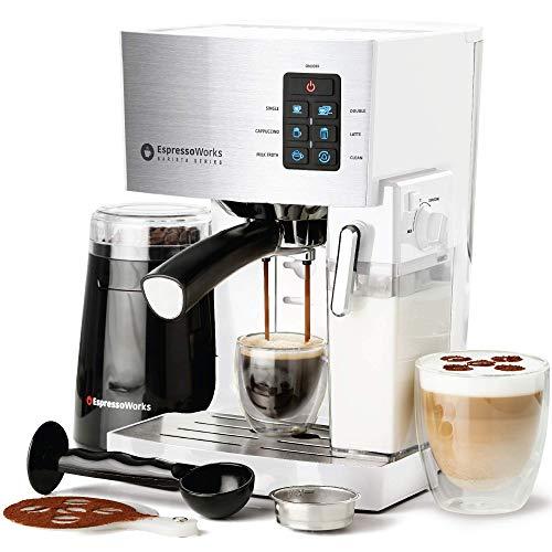 Espresso Machine, Latte & Cappuccino Maker- 19 Bar Pump, 10 pc All-In-One Espresso Maker with Milk Steamer (Incl: Coffee Bean Grinder, 2 Cappuccino & 2 Espresso Cups, Tamper, Portafilter w/ Single & Double Shot Filter Baskets), 1250W, (White) (Renewed)