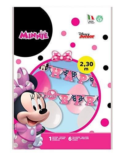 Siad–Kit Happy Birthday Minnie (2,15m) con 6colores guirnalda con globos, multicolor, One size, 33861