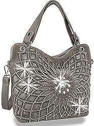 Pewter Double Handle Starburst Bling Handbag