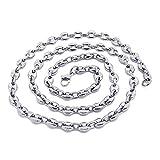 BOBIJOO Jewelry - Collier Chaîne Grain de Café Homme Femme Acier INOX Argenté 4...