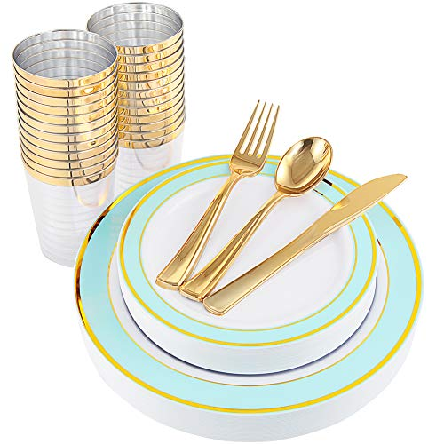 NERVURE 25 Guest Mint Gold Plastic Plates with Gold Silverware,Disposable Cups-Include 25 Dinner Plates, 25 Dessert Plates, 25 Forks, 25 Knives, 25 Spoons & 10 oz Plastic Cups