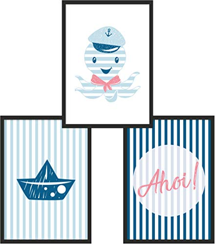 Kinderposter 3er-Set | 3X DIN A4 Poster | Jungen & Mädchen | Kunstdruck fürs Kinderzimmer | Motiv: Oktopus